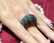 Blue Sapphire Cognac & Yellow Citrine Gemstone 925 Silver Engagement Dome Ring
