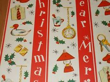 Vtg Merry Christmas Wrapping Paper Gift Wrap Nos Dad Father Happy New Year