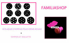 Tampon + Raclette stamping pour vernis konad ongle + 10 Plaques