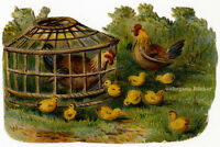 Vintage Victorian die cut paper scrap, Hens and Chicks from ca. 1880.