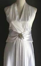 NWT White Satin MR K Halter Neck WEDDING DRESS GOWN or Debutante Gown Size 14