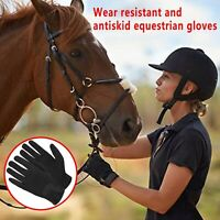 Women-Men Horse Riding Gloves Leather Grip Equestrian Pink Black Horse Back NEW