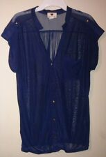 ONE CLOTHING Thin Navy Blue Button Down Blouse With Gold Buttons Women's Size M