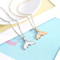Charn Women Silver Gold Whale Tale Pendant Necklace Fish Sealife Chain Jewelry