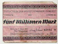 Coupon Le Stadtgemeinde Fairfax 1923 Cinq Millions Mark