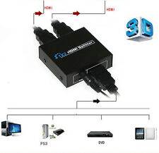 1080p HD 1x2 Port HDMI Splitter Amplifier 3D Female Cable for DVD PC Laptop TV