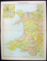 1890 Bartholomew Antique Map Wales inset of Liverpool