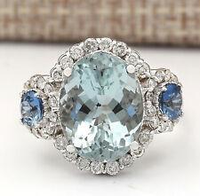 7.41 Carat Natural Aquamarine Sapphire 14K White Gold Diamond Ring