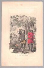 1857 Hand Colored Art Print Engraving Border Encounter Native American Free Ship