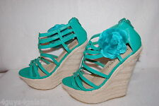 """Womens BRIGHT MINT GREEN STRAPPY 6"""" WEDGE HIGH HEELS Silver Stud & Flower SIZE 9"""