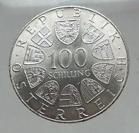 1976 AUSTRIA Innsbruck Winter OLYMPIC Games 100 Schilling Silver Coin i63016