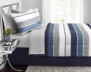 King Size Comforter Set 8 Pieces Blue Stripe Bed in a Bag Soft Bedding Comfort