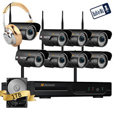 8CH 720P Wireless Security IP Camera System CCTV With 1TB Microphone Audio Kit