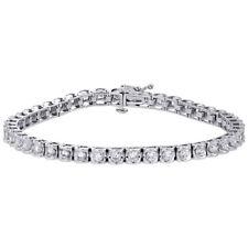"""14K Echt Weißgold Rund Diamant Kanalsatz Tennis Armband 7.25 """" 4mm 3 CT"""