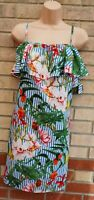 PEP & CO BLUE WHITE RED FLORAL STRIPED STRAPPY OF SHOULDERS TUNIC SLIP DRESS 18