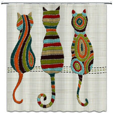 "Cute Animal Cat Shower Curtain Knitted Fabric Bathroom Decor with Hooks 71""x71"""