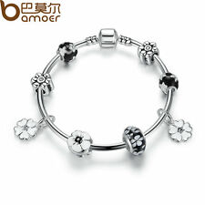 Bamoer European Silver Charms Bangle With Leaves Black Beads Women Jewelry 20cm