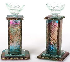 Colorful Shabbat Candle Holders/Sticks, Glass Flowers Judaica Art Made in Israel