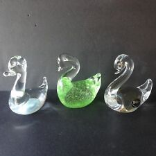 3 Vintage Italian Murano Glass Bird Duck Swan Figurines