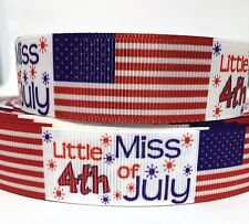 """GROSGRAIN RIBBON 7/8"""" Little Miss 4th of July Fireworks (FREE SHIPPING)"""