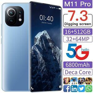 2021 Global Version M11 Pro 7.3'' Smartphone 6800mAh 16+512GB 32+64MP Face 5G