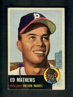 1953 Topps #37 Ed Eddie Mathews Braves RC (BV=$200) HOFer 500HR