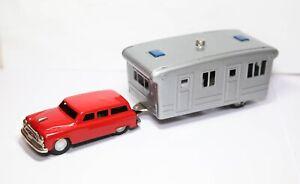 Tinplate Car And Caravan Trailer Japan - Nr Mint Vintage Original SSS Toys Rare