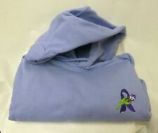 Purple Ribbon Hoodie L White Rose Lilac Sweatshirt Cancer Awareness Unisex New