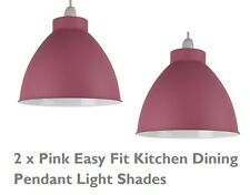 2 x MATT PINK Cupola Cucina Metallo Coolie soffitto luce ombra pendente EASY FIT