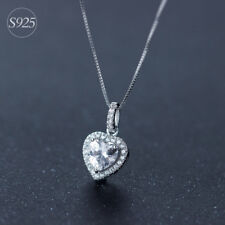 pure 925 silver love heart Crystal diamond  charm neckless