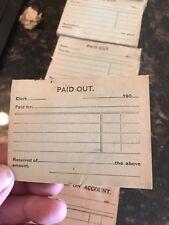 PAID OUT Original Antique National Cash Register Receipt 1901 To 1909