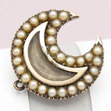 Antique Georgian 10k Gold Seed Pearl Halo Crescent Moon Locket Brooch Pendant