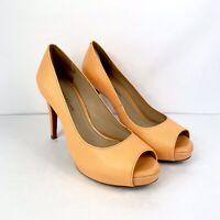 Antonio Melani ERIKA Heels Womens Size 8.5 M Orange Leather Open Toe Shoes