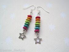 *STAR RAINBOW* Wood Beaded Stack Earrings SP KITSCH Cute Festival Boho