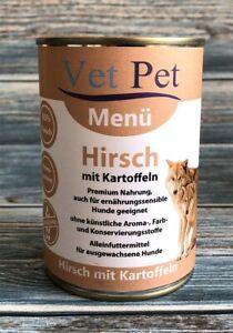 Vet Pet Hirsch mit Kartoffel 6 x 400 g - Hundefutter Nassfutter getreidefrei NEU