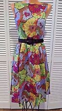 NWT Retrolicious Flourish of July Women's Dress Belted Blooms Sz S Floral