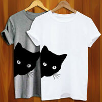 Womens Men Black Cat Casual T-Shirts Short Sleeve Funny T-shirt Tee Shirt #A #eh