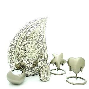 Silver Teardrop Cremation Urn, Keepsake, Star, Heart and Tea light Urn,