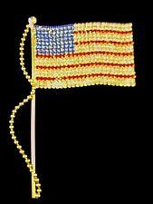 """Gorgeous HUGE Patriotic American Flag Rhinestone Brooch LARGE 5 3/4"""" * WOW *"""