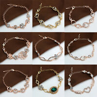 18K Rose Gold Plated Fashion Women Flower Heart Charm Chain Bracelet New Jewelry