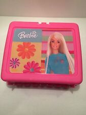 PINK THERMOS BARBIE FLOWERS PLASTIC LUNCH BOX WITH NO THERMOS BOTTLE