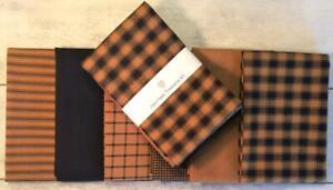 "Dunroven House 6 Primitive Homespun Pumpkin ~ Black  Fabric 10"" Sq. Bundle"