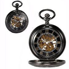Mens Black Antique Mechanical Stainless Steampunk Pocket Watch Gift Chain
