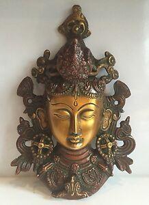 HEAVY 8.5'' TIBETAN BUDDHA FACE Tara Devi HEAD WALL Hanging BRASS Shamanism