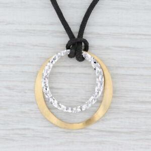 """2-Toned Circles Pendant Necklace 14k Gold Black Cord 15"""" Choker Italian"""