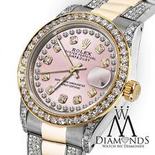 Ladies Rolex Oyster Perpetual Datejust 26mm Custom set Diamonds Dial Tone Pink
