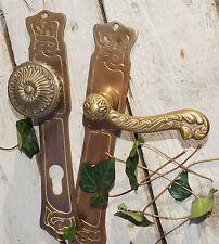 Jugendstil Türklinke, Haustürgarnitur, repro, Messing patiniert #WG444