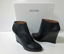 CELINE Navy Leather and Black Wedge Ankle Boots Shoes Sz 37 NEW IN BOX $1100