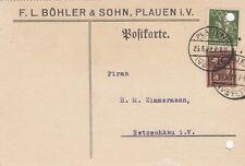 PLAUEN, Postkarte 1922, F. L. Böhler & Sohn