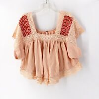 Free People Prairie Days Blouse Top Size Extra Small Peach Desert Days Boho NWOT
